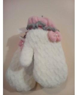 Бели бебешки ръкавици Лукс