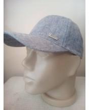 Мъжка шапка Лен Памук Меланж Сива