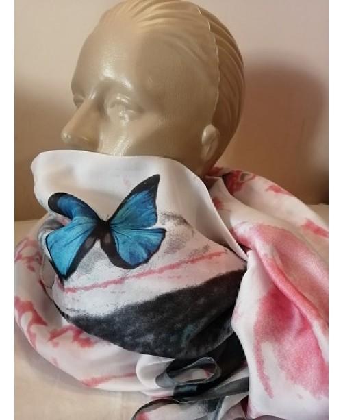 Копринен дамски шал Пеперуди