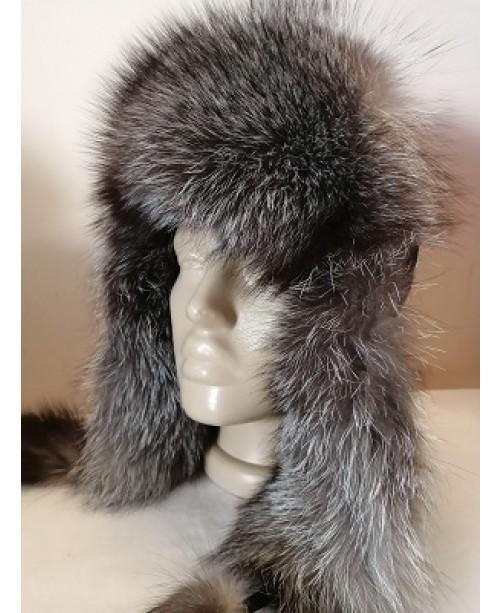 Дамска кожена шапка косъм Лисица 56 см