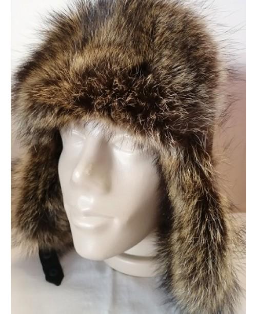 Мъжка кожена шапка естествен косъм 60 см