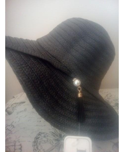 Черна дамска лятна капела с перла