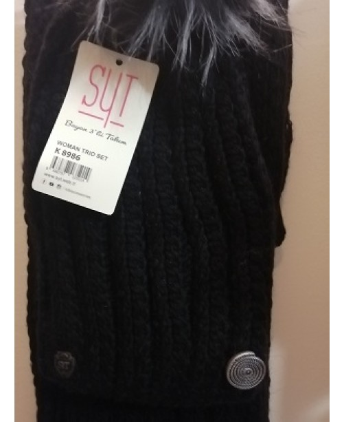 Черни шапка шал ръкавици Дамски