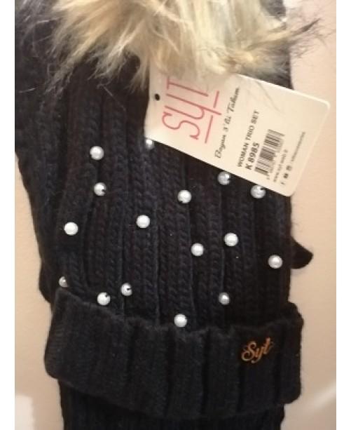 Черен дамски зимен комплект Перли