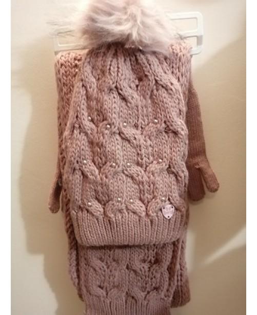Дамски плетен зимен комплект Розов