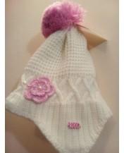 Детска плетена шапка Бяла