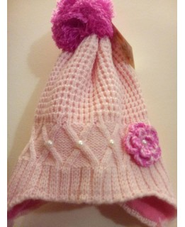 Детска плетена шапка Розова