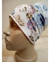 Бяла памучна шапка на цветя