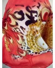 Червен летен шал Тигров мотив