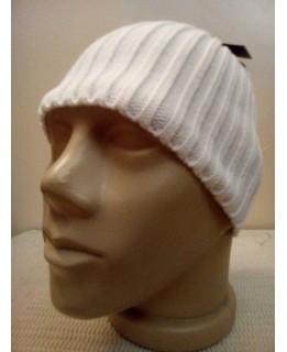Бяла шапка без подгъв