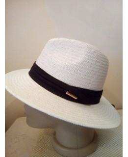 Бяла лятна шапка Борсалино