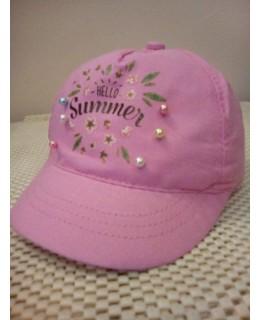 Бебешка шапка Здравей лято Розова