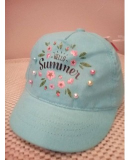 Бебешка шапка Здравей лято Синя