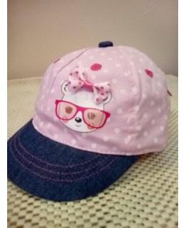 Бебешка шапка Розова Дънкова козирка 42 см