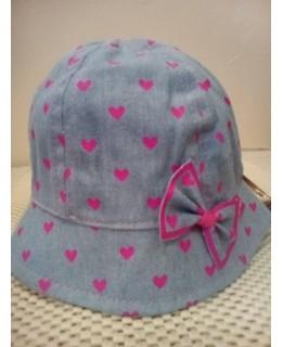 Бебешка дънкова шапчица Розови сърчица