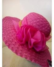Плетена лятна капела Розово цвете