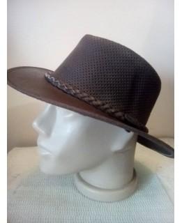 Кафява каубойска шапка Естествена кожа XL