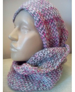 Дамски кръгъл шал Цветно плетиво