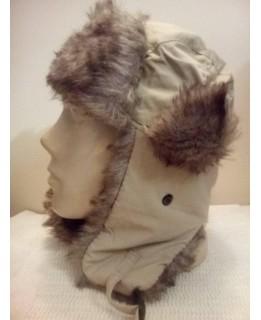 Бежова шапка ушанка Еко пух