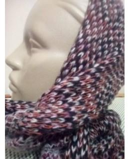 Дамски кръгъл шал Цветно плетиво 3