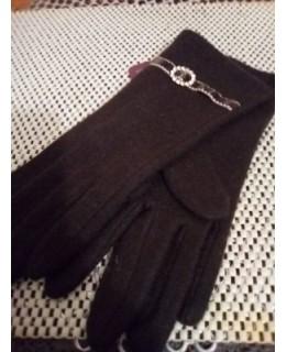 Кафяви дамски ръкавици Вълна Акцент