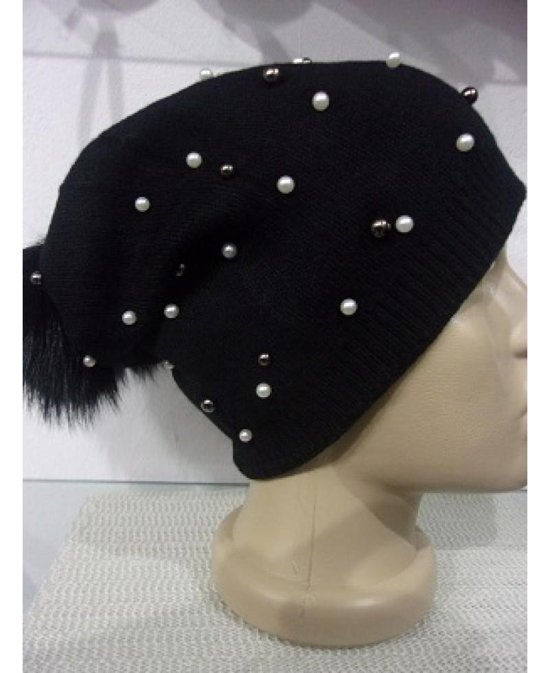 fbb656ae878 Дамска шапка с перли и естествен помпон - VeranoClub - онлайн ...